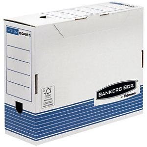Bankers Box Caja Archivo Definitivo Cartón A4, Automontaje Fastfold, Tapa fija, Blanco y Azul, 325 x 108 x 264 mm