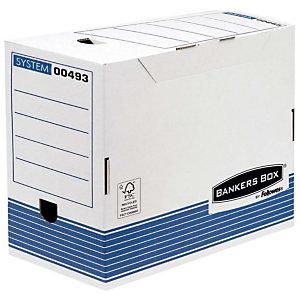Bankers Box Caja Archivo Definitivo Cartón A4, Automontaje Fastfold, Tapa fija, Blanco y Azul, 325 x 200 x 264 mm