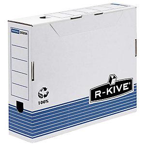 Bankers Box Caja Archivo Definitivo Cartón A4, Automontaje Fastfold, Tapa fija, Blanco y Azul, 325 x 80 x 264 mm