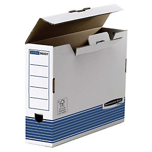 Bankers Box Caja Archivo Definitivo Cartón Folio, Automontaje Fastfold, Tapa fija, Blanco y Azul, 325 x 80 x 264 mm