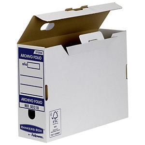 Bankers Box Caja Archivo Definitivo Cartón Folio, Automontaje Fastfold, Tapa fija, Blanco y Azul, 360 x 108 x 252 mm