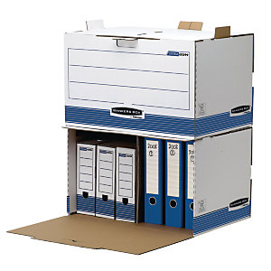 Bankers Box Cajón Archivo Definitivo Cartón A4, Automontaje Fastfold, Sistema de anclaje, Tapa fija, Blanco y Azul, 475 x 330 x 360 mm