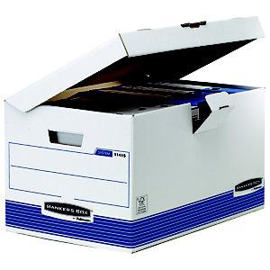 Bankers Box Cajón Archivo Definitivo Cartón Folio, Automontaje Fastfold, Tapa fija, Blanco y Azul, 287 x 480 x 380 mm