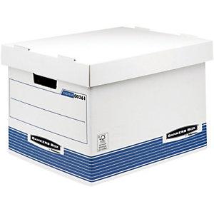Bankers Box Scatola archivio Banker Box, Cartone, Coperchio a ribalta, Bianco e blu, 270 mm x 335 mm x 391 mm (confezione 10 pezzi)
