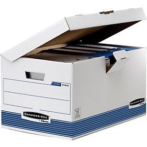 Bankers Box Scatola archivio Banker Box, Cartone, Coperchio a ribalta, Bianco e blu, 300 mm x 360 mm x 550 mm (confezione 10 pezzi)