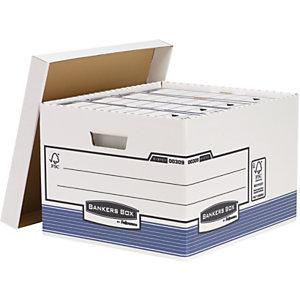 Bankers Box Scatole archivio Maxi, Cartone, Coperchio removibile, Bianco e blu, 430 x 287 x 380 mm (confezione 10 pezzi)