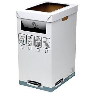 Bankers Box System, Papelera de reciclaje, cartón reciclado, 50/90 l, blanco