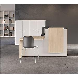 Banque d accueil Fifty L. 180 cm, comptoir à droite - Bicolore chêne / blanc