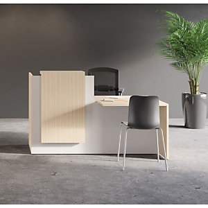 Banque d accueil Fifty L. 180 cm, comptoir à gauche - Bicolore chêne / blanc