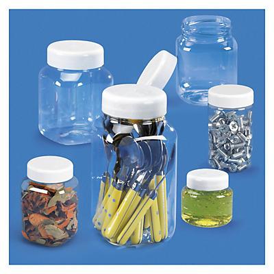 Barattoli in plastica trasparente con tappo a vite