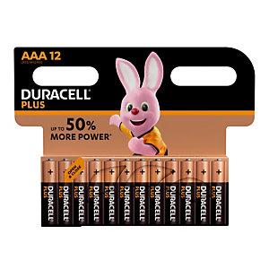 Batterijen Duracell Plus AAA / LR03, set van 12 batterijen