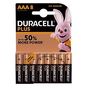 Batterijen Duracell Plus AAA / LR03, set van 8 batterijen