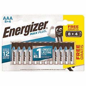 Batterijen Energizer Max Plus AAA, set van 12 batterijen