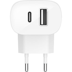 Belkin Boost Charge USB-C de 27W + USB-A de 30W, Cargador de pared, blanco