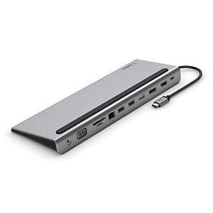 Belkin INC004BTSGY, Alámbrico, USB 3.2 Gen 1 (3.1 Gen 1) Type-C, 100 W, 3,5 mm, 1000 Mbit/s, Negro, Gris