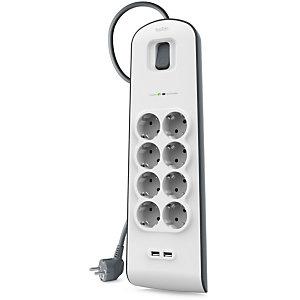 Belkin SurgePlus Regleta múltiple con interruptor, 8 tomas, 2 USB 2.4 A, 2 m, blanco y gris