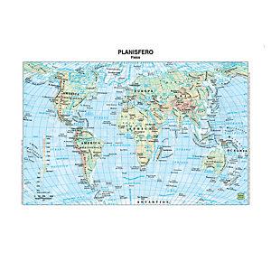 BELLETTI Carta geografica Mondo - scolastica - plastificata - 297x420 mm - Belletti