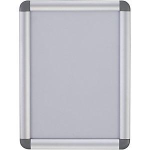 Bi-Office Bacheca con apertura a scatto e angoli arrotondati, Trasparente, Cornice in alluminio, Formato A3