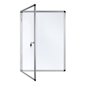 Bi-Office Bacheca magnetica Enclore, Superficie in acciaio laccato magnetico, Cornice in alluminio, Anta in acrilico, 2 fogli A4