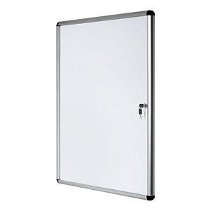 Bi-Office Bacheca magnetica Enclore, Superficie in acciaio laccato magnetico, Cornice in alluminio, Anta in acrilico, 4 fogli A4