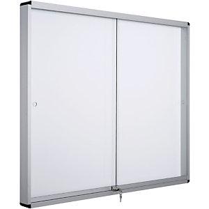 Bi-Office Bacheca magnetica Exhibit, Anta scorrevole, Superficie in acciaio laccato, Cornice in alluminio, 8 fogli formato A4