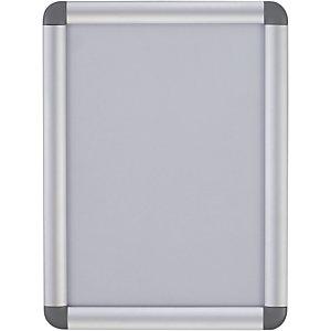 Bi-Office Cornice da parete con chiusura a scatto e angoli arrotondati, Alluminio, Formato A4
