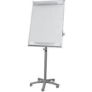 Bi-Office Lavagna portablocco mobile, Superficie magnetica cancellabile a secco, Cornice grigia, 700 x 1000 mm