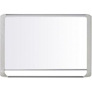 Bi-Office MasterVision, pizarra blanca magnética, superficie blanca brillante, acero lacado, marco gris claro, 1200 x 900mm