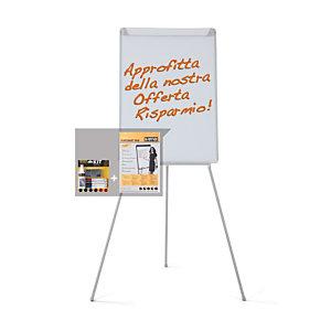 Bi-Office Offerta 1 Lavagna Portablocco con cavalletto, Superficie magnetica in acciaio laccato, 100 x 70 cm+ 1 blocco carta da 20 fogli 98 x 68 cm, Bianco + 1 Starter Kit di pulizia compresi nel prezzo<BR>