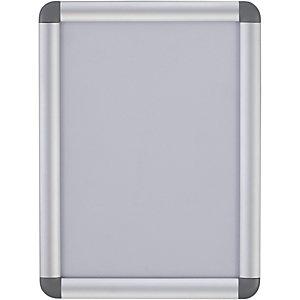 Bi-Office Panneau mural à clip et cadre arrondi, aluminium, format A4