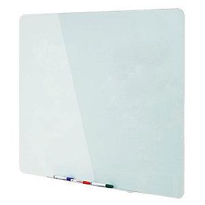 Bi-Office Pizarra de cristal magnética de limpieza en seco, superficie de vidrio templado blanco, 4 mm, 1500 x 1200 mm