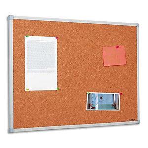 BI-OFFICE Tableau d'affichage en Liège, cadre en PVC Gris - Format : L120 x H90 cm