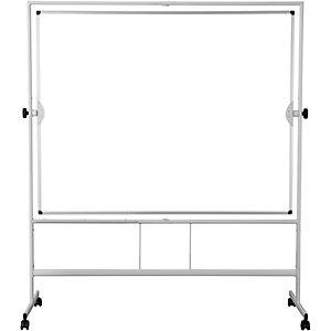 Bi-Office Tableau blanc mobile pivotant,  effaçable à sec  -150 cm x 120 cm