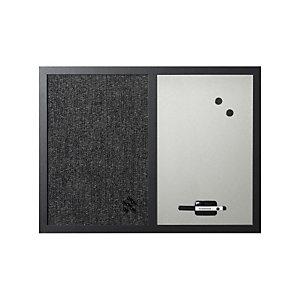 Bi-Office Tableau mixte en acier laqué magnétique argent et tissu noir 60 x 45 cm - Cadre noir