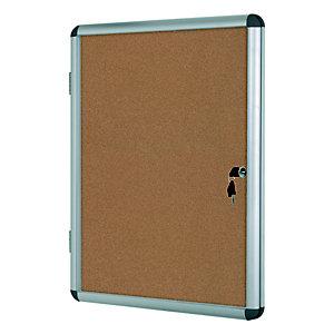 Bi-Office Vitrine d'intérieur Enclore porte-battante fond en liège, 4 feuilles A4, dimensions L50 x H67,4 x P3,5 cm