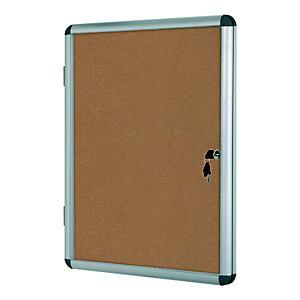 Bi-Office Vitrine d'intérieur Enclore porte-battante fond en liège, 6 feuilles A4, dimensions L72 x H67,4 x P3,5 cm