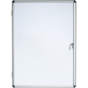 Bi-Office Vitrine d'intérieur Enclore porte-battante fond magnétique, 6 feuilles A4, dimensions L72 x H67,4 x P3,5 cm