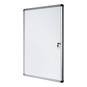 Bi-Office Vitrine d'intérieur Enclore porte-battante fond magnétique, 9 feuilles A4, dimensions L72 x H98,1 x P3,5 cm