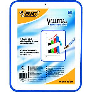 BIC® Ardoise effaçable à sec Velleda, cadre bleu, Double face, 55 cm x 44 cm