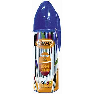 BIC® Astuccio portapenne con 20 penne a sfera stick Cristal Original, Colori assortiti
