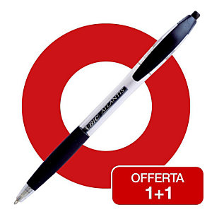 BiC Atlantis® Offerta 1+1 Penne a sfera a scatto, Punta media da 1 mm, Fusto trasparente con grip, Inchiostro nero, Confezione 12 pezzi