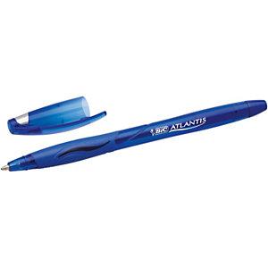 BIC® Atlantis Stic Bolígrafo de punta de bola, punta mediana de 1,2 mm, cuerpo transparente con grip, tinta azul