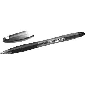 BIC® Atlantis Stic Bolígrafo de punta de bola, punta mediana de 1,2 mm, cuerpo transparente con grip, tinta negra