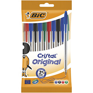 BIC® Cristal® Bolígrafo de punta de bola, punta mediana de 1 mm, cuerpo transparente, colores de tinta variados: negro, azul, rojo y verde