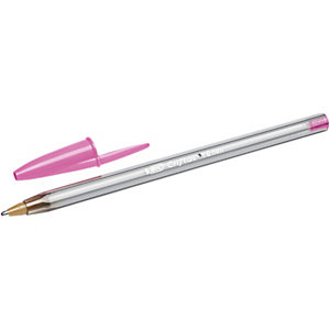 BIC® Cristal Fun Bolígrafo de punta de bola, punta ancha de 1,6 mm, cuerpo de plástico translúcido, tinta rosa