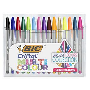 BIC® Cristal Multicolour Stylo bille à capuchon pointe large 1 mm - Pochette de 15 coloris assortis