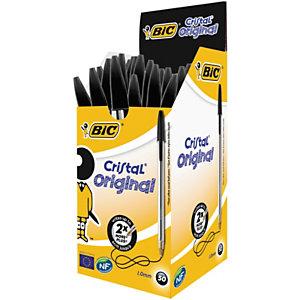 BIC® Cristal Original Bolígrafo de punta de bola, punta mediana de 1 mm, cuerpo de plástico translúcido, tinta negra