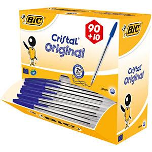 BIC® Cristal® Pack Ahorro 90 + 10 GRATIS, Bolígrafo de punta de bola mediana de 1mm, cuerpo transparente, tinta azul