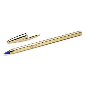BIC® Cristal® Penna a sfera stick, Punta media da 1 mm, Fusto oro, Inchiostro blu