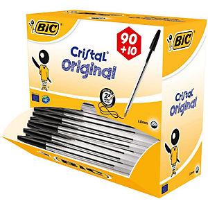 BiC Cristal® Penna a sfera Stick, Punta media da 1 mm, Fusto trasparente, Inchiostro nero